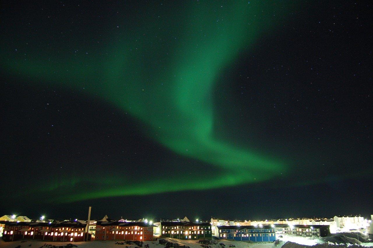 the northern lights, night, nuuk